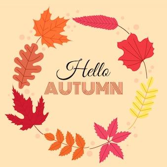 Olá outono. folhas de outono em forma de círculo.