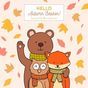 Olá outono fundo com animais adoráveis