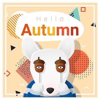 Olá outono fundo com cachorro feliz