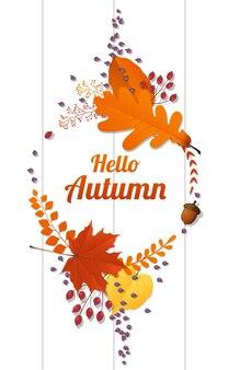 Olá outono fundo com coroa decorativa