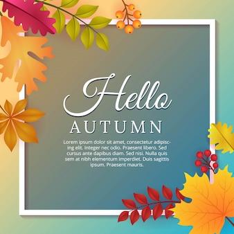 Olá outono fundo com design de modelo de folhas de outono