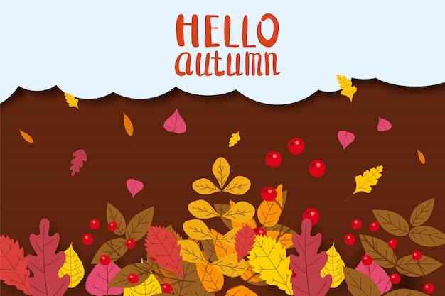 Olá outono, fundo com folhas caindo