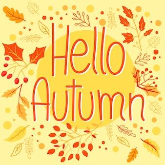 Olá outono fundo com folhas de outono