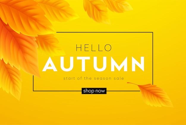 Olá outono fundo de venda com folhas de outono amarelas realistas.