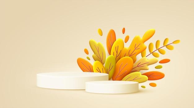 Olá outono fundo mínimo 3d com folhas de laranja e pódio do produto