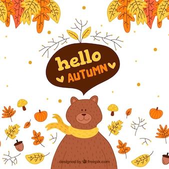 Olá outono letras fundo com urso fofo
