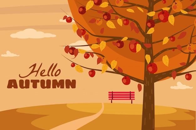 Olá outono macieira paisagem frutas colheita temporada