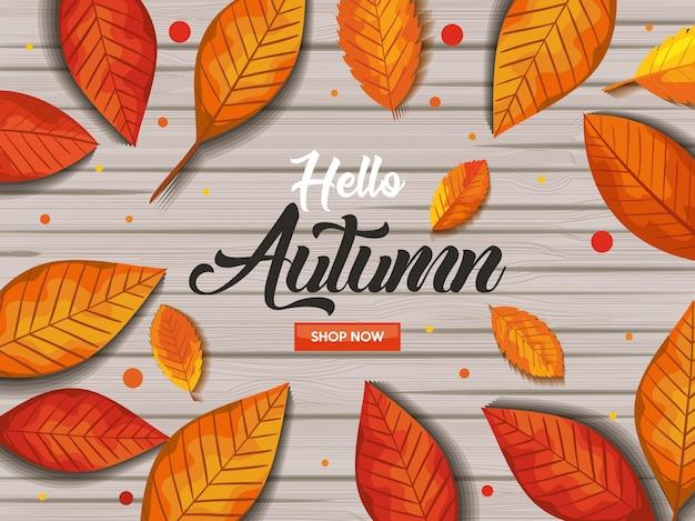Olá outono no banner de madeira