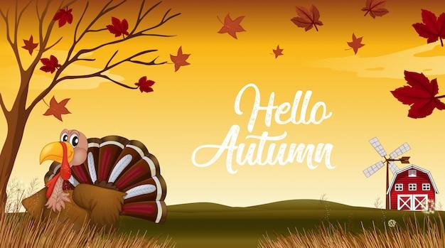 Olá outono obrigado dando cartão