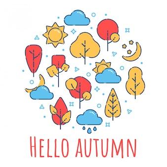 Olá outono paisagem impressão com árvores vermelhas, sol, nuvens, lua. ilustração no estilo moderno contorno liso.