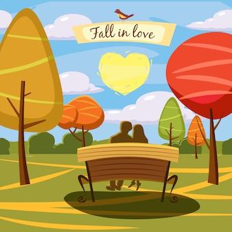 Olá outono, parque, paisagem de amantes apaixone-se