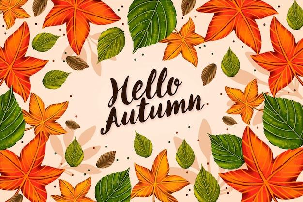 Olá outono saudação fundo