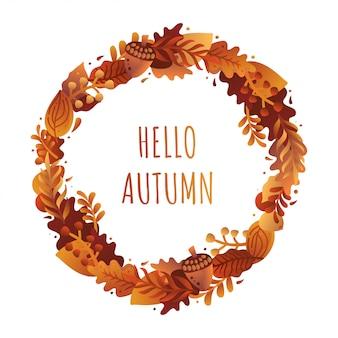 Olá outono saudação ilustração.