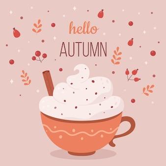 Olá outono xícara de café com creme e canela bebida quente de outono