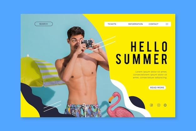 Olá página de destino de verão com homem tirando fotos