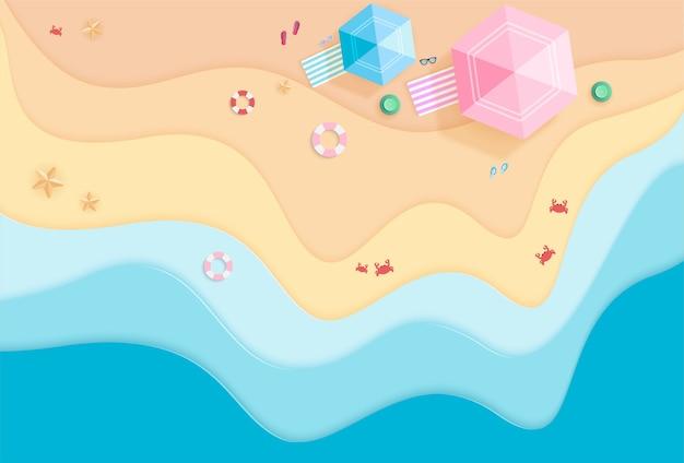 Olá, página de destino de verão com praia