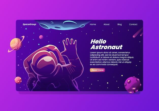 Olá, página de destino do astronauta