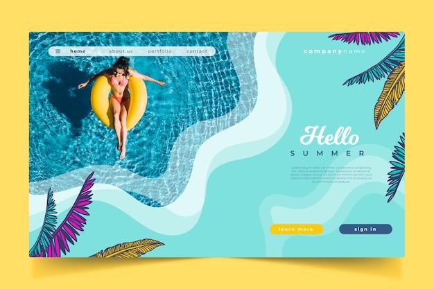 Olá página de destino e piscina de verão