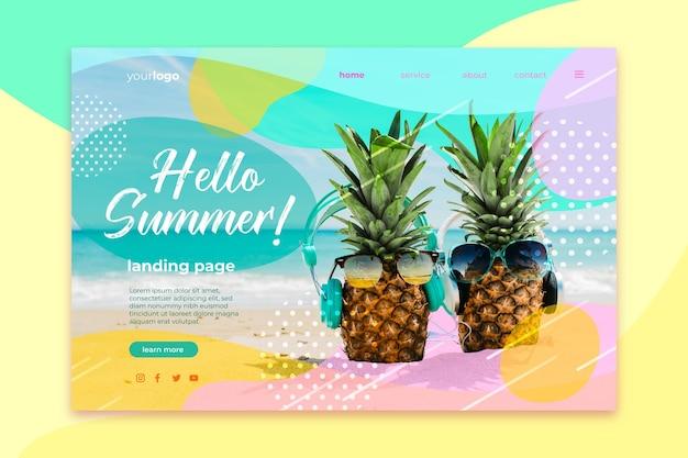 Olá, página inicial de verão com abacaxi e óculos de sol