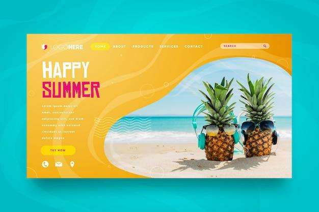 Olá, página inicial de verão com abacaxi na praia
