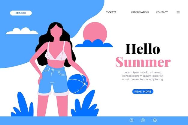 Olá, página inicial de verão com bola de praia e mulher