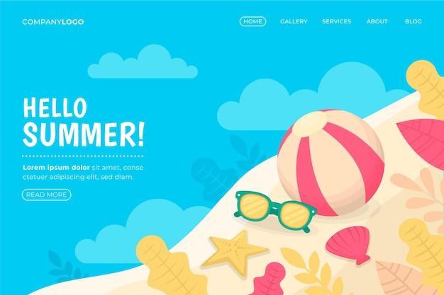 Olá, página inicial de verão com bola de praia e óculos de sol