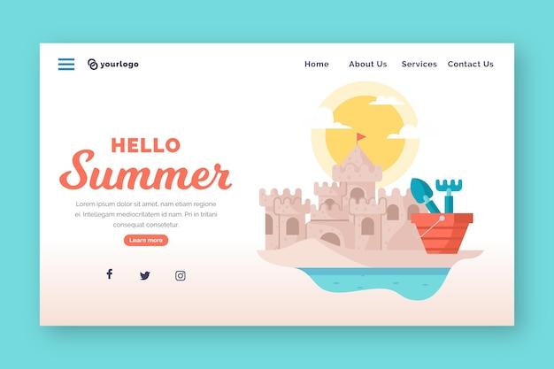Olá, página inicial de verão com castelo de areia