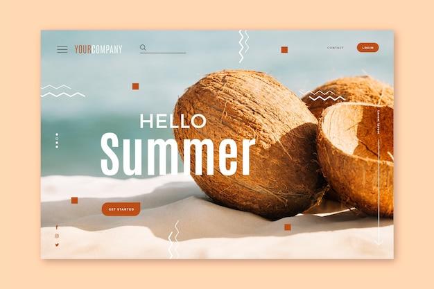 Olá página inicial de verão com coco