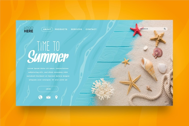 Olá, página inicial de verão com conchas da praia e do mar