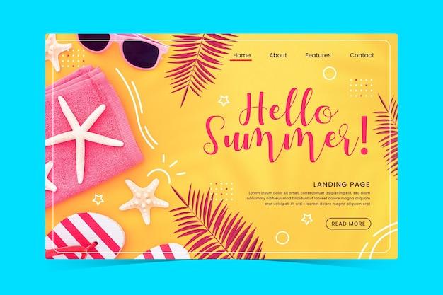 Olá, página inicial de verão com estrela do mar