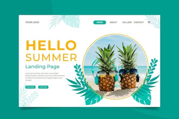 Olá página inicial de verão com foto