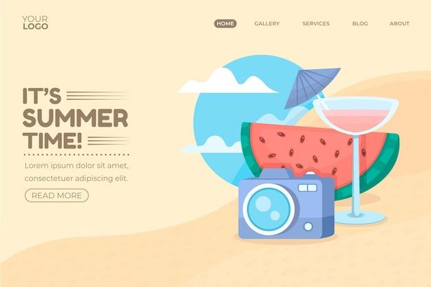 Olá, página inicial de verão com melancia e coquetel