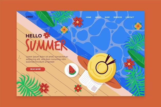 Olá, página inicial de verão com mulher na piscina