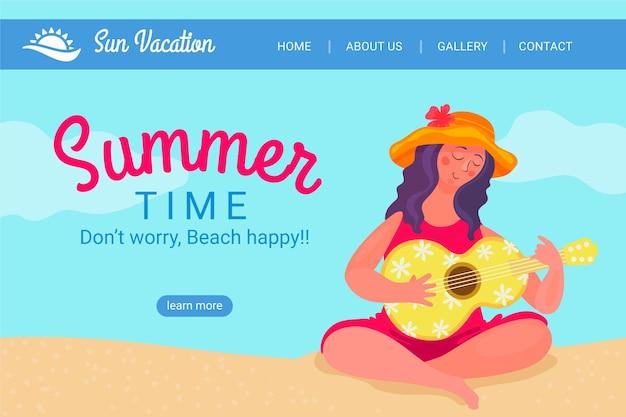 Olá, página inicial de verão com mulher na praia, tocando ukulele