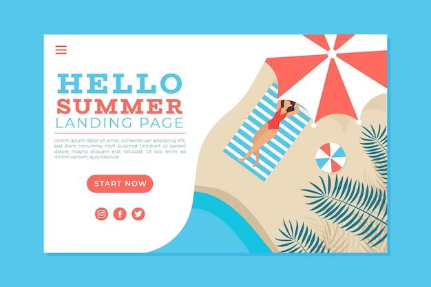 Olá, página inicial de verão com mulher na praia