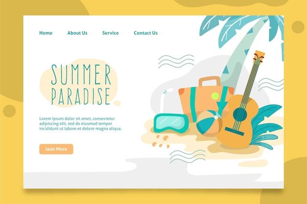 Olá página inicial de verão com palmeira e violão
