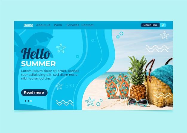 Olá, página inicial de verão com praia e abacaxi