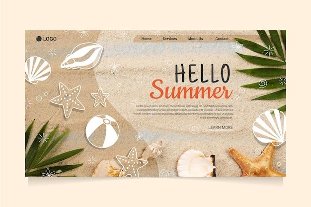Olá, página inicial de verão com praia e conchas do mar