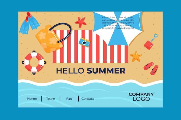 Olá página inicial de verão com praia e guarda-chuva