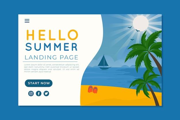 Olá, página inicial de verão com praia e palmeiras