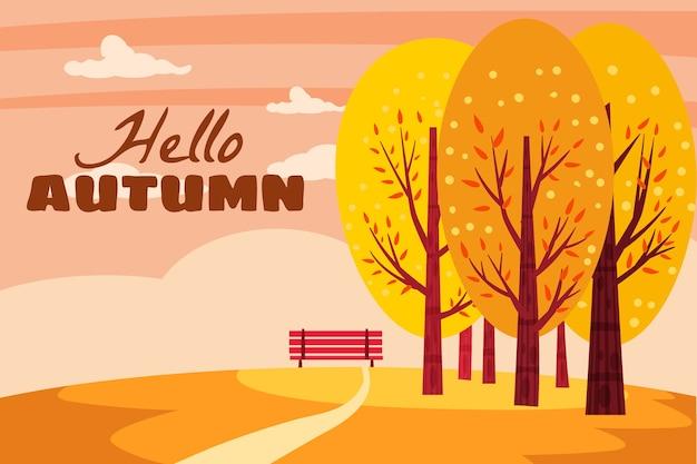 Olá, paisagem de outono.