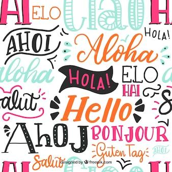 Olá palavras padrão em diferentes idiomas