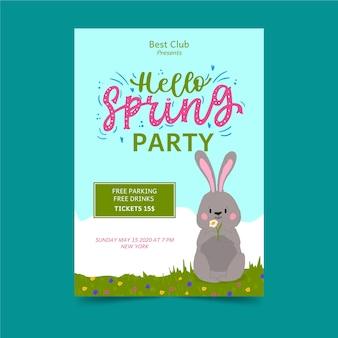 Olá panfleto de festa primavera com coelho