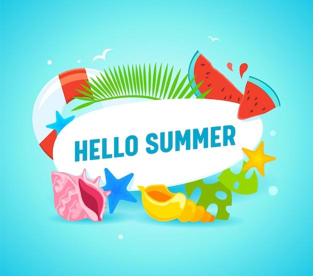 Olá, papel de parede de verão com tipografia e itens de verão