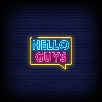 Olá pessoal sinais de néon estilo texto