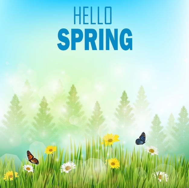 Olá pôster de primavera com flores e borboletas