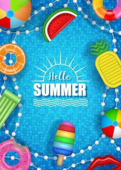 Olá, pôster de verão com infláveis coloridos na água da piscina