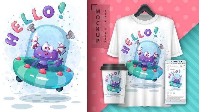 Olá pôster e merchandising alienígena