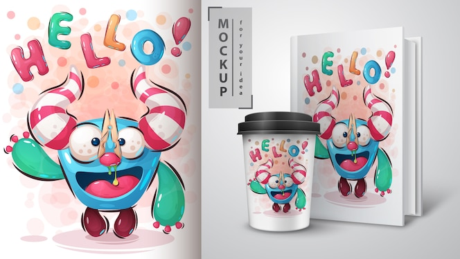 Olá poster e merchandising de monstros