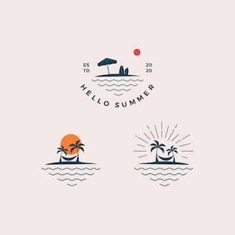Olá praia design de logotipo de verão